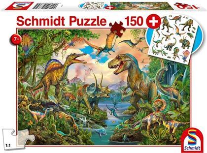 Wilde Dinos - 150 Teile Puzzle (inkl. Dinosaurier Tattoos)