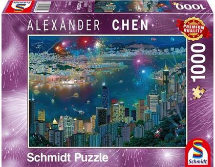 Alexander Chen: Feuerwerk über Hongkong - 1000 Teile Puzzle