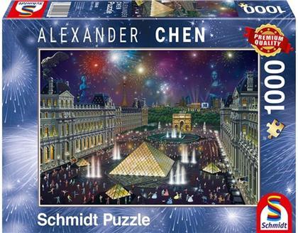 Alexander Chen: Feuerwerk am Louvre - 1000 Teile Puzzle
