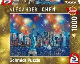Alexander Chen: Freiheitsstatue mit Feuerwerk - 1000 Teile Puzzle