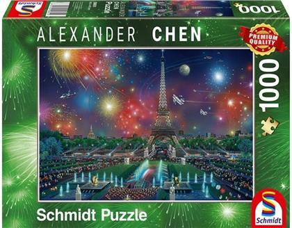 Alexander Chen: Feuerwerk am Eiffelturm - 1000 Teile Puzzle