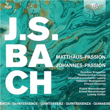 Rudolf Mauersberger, Gewandhausorchester Leipzig, Johann Sebastian Bach (1685-1750), Peter Schreier, Christoph Genz, … - Matthaus Passion / Johannes Passion (Quintessence, 5 CDs)