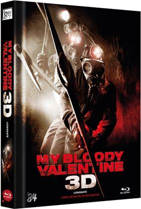 My Bloody Valentine 3D (2009) (Cover B, Collector's Edition Limitata, Mediabook, Uncut, Blu-ray 3D (+2D) + DVD)