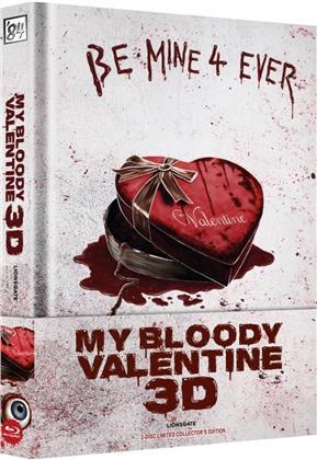 My Bloody Valentine 3D (2009) (Wattiert, Collector's Edition Limitata, Mediabook, Uncut, Blu-ray 3D (+2D) + DVD)