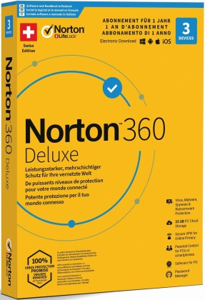 Norton Security 360 Deluxe 25GB 1 User 3 PC [PC/Mac/Android/iOS]