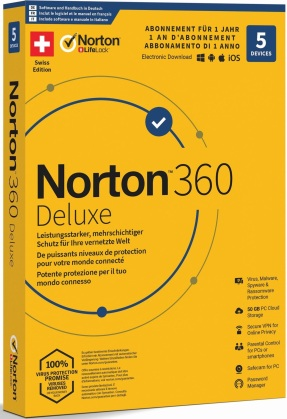 Norton Security 360 Deluxe 50GB 1 User 5 PC [PC/Mac/Android/iOS]