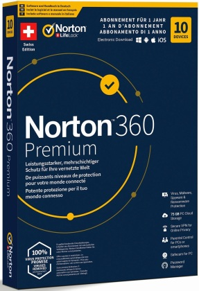 Norton Security 360 Premium 75GB 1 User 10 PC [PC/Mac/Android/iOS]