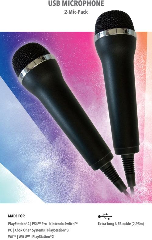 Mikrofon für Karaoke Games (Lets Sing, Voice of Germany, SingStar etc.) für PlayStation (PS3, PS4, PS4 Pro), Nintendo (Switch, Wii U, Wii), XBOX One (OneX - OneS) + PC- 2er Set universal USB Mikrofon