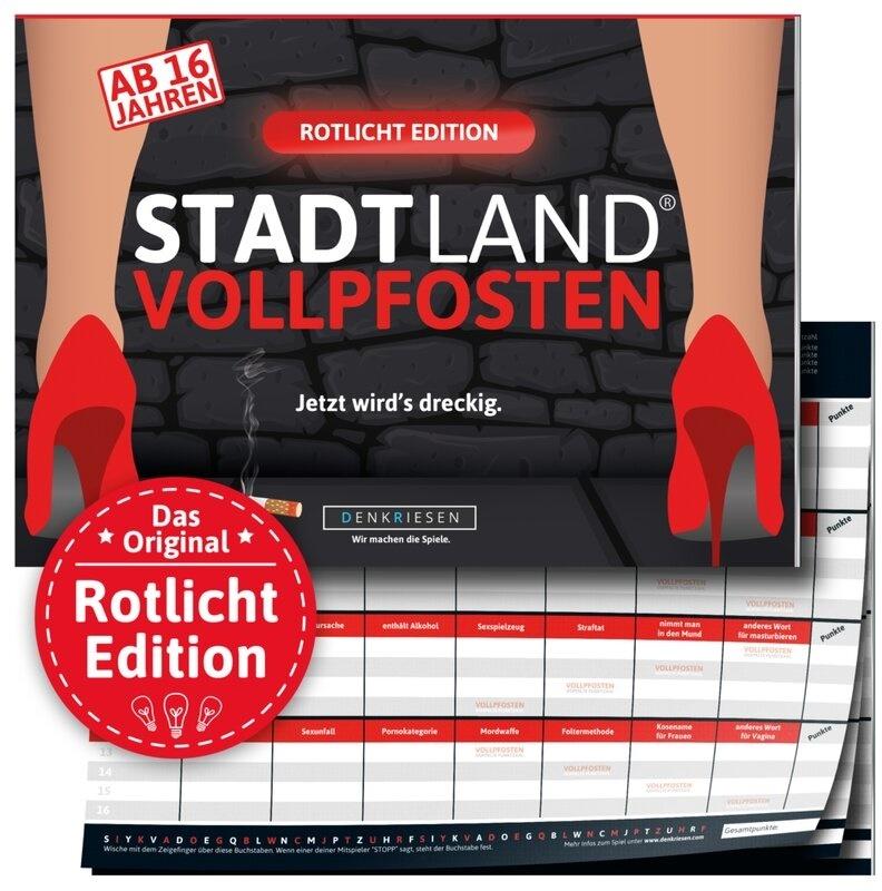 """Denkriesen - Stadt Land Vollpfosten® - Rotlicht Edition - """"Jetzt wird's dreckig."""" (Spiel)"""