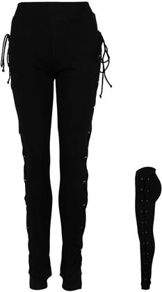 Spiral - Gothic Rock - High Waisted Side Lace Up Leggings