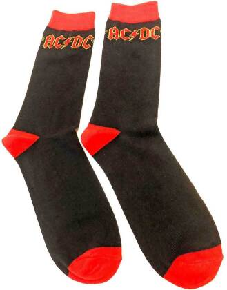 AC/DC - Classic Logo Black Sock Uk Size 7-11 (Euro Sizes Approx Size 40-45)