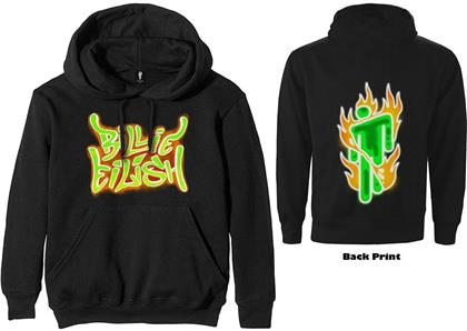 Billie Eilish Unisex Pullover Hoodie - Airbrush Flames Blohsh