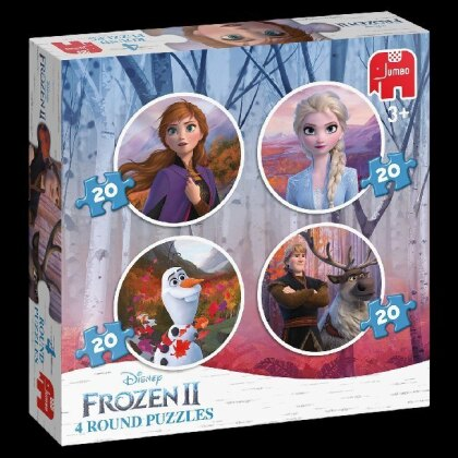 Frozen 2 - 4in1 Rundes Puzzle 20/20/20/20 Teile