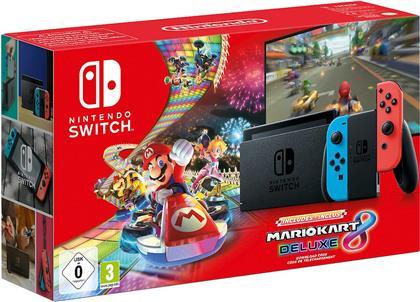 Nintendo Switch Konsole neonrot Mario Kart 8 Bundle - (neues Model mit mehr Akkuzeit)