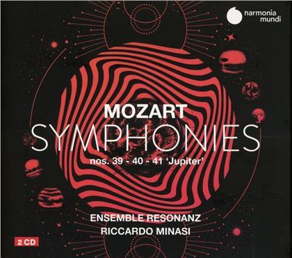 Riccardo Minasi, Ensemble Resonanz & Wolfgang Amadeus Mozart (1756-1791) - Symphonies Nos. 39. 40 & 41 Jupiter (2 CDs)