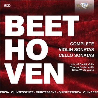 Ludwig van Beethoven (1770-1827), Ludwig van Beethoven (1770-1827), Kristóf Baráti, Timora Rosler & Klára Würtz - Complete Violin Sonatas & Cello Sonatas (5 CDs)