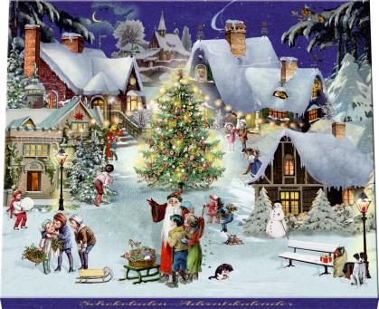 Adventskalender-Schokolade - Winterabend im Dorf