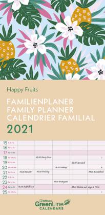 GreenLine Happy Fruits 2021 Familienplaner - Familien-Kalender - Wandkalender - 22x45