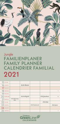 GreenLine Jungle 2021 Familienplaner - Wandkalender - Familien-Kalender - 22x45