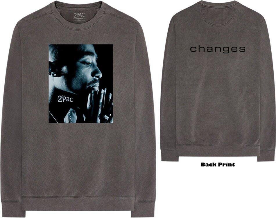 Tupac Unisex Long Sleeved Tee - Changes Side Photo (Back Print) - Grösse S