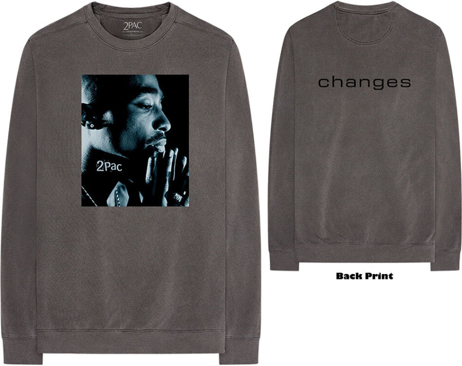 Tupac Unisex Long Sleeved Tee - Changes Side Photo (Back Print) - Grösse XL