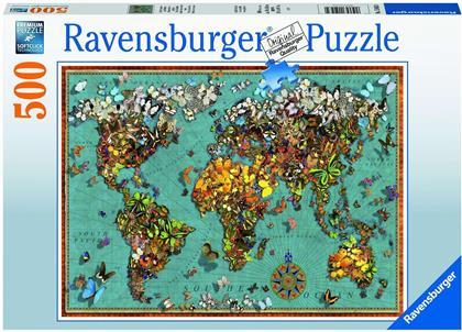Antike Schmetterling-Weltkarte - 500 Teile Puzzle