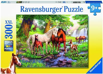 Wildpferde am Fluss - 300 XXL-Teile Puzzle