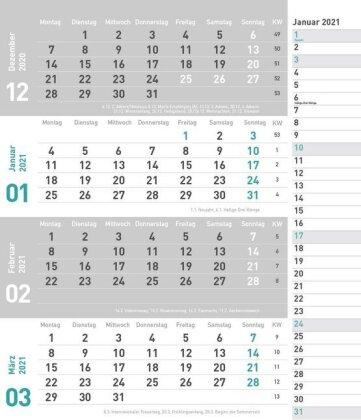 times&more 4-Monatsplaner - türkis Kalender 2021