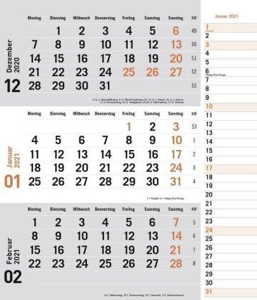 times&more 3-Monatsplaner - orange Kalender 2021