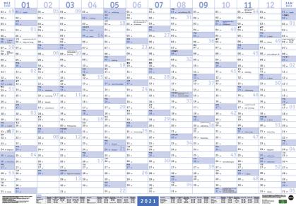 Mega-Posterplaner - blau Kalender 2021