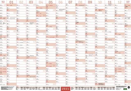 Mega-Posterplaner - rot Kalender 2021