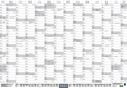 Mega-Posterplaner - silber Kalender 2021