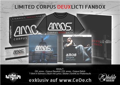 Amos (Rap) - Corpus Deuxlicti (LIMITED FANBOX) - inkl. T-Shirt, Buch, Sticker, Eintritt Zur Plattentaufe (2 CDs)