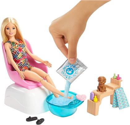 Barbie Mani-Pedi Spielset - Puppe blond, Hündchen,