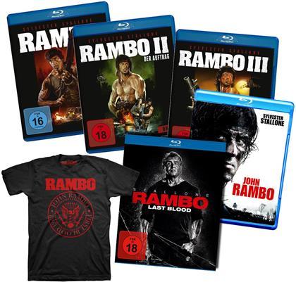 """Rambo 1-5 - T-Shirt """"Rambo"""" Geschenkset (Limited Edition, 5 Blu-rays)"""