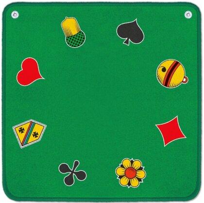 Jassteppich - Jass + Piquet Symbole - grün
