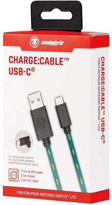 snakebyte NSW Lite Charge - Cable USB Typ-C, 2,5m Länge (inkl. 90 Grad USB-C Winkel Adapter)