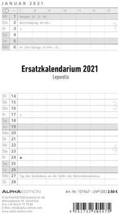 Ersatzkalendarium für Taschenplaner Leporello PVC 2021