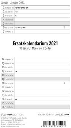 Ersatzkalendarium für Taschenplaner 2021
