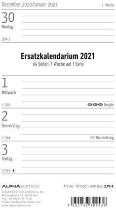 Ersatzkalendarium für Taschenplaner PVC 2021