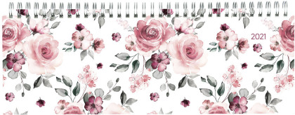 Tisch-Querkalender Style Rosen 2021 - Büro-Planer 29,7x10,5 cm - Tisch-Kalender - 1 Woche 2 Seiten - Ringbindung - Alpha Edition