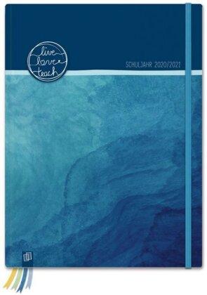 """Mein Lehrerplaner A4+ """"live - love - teach"""" - ozeanblau - Lehrerkalender für das Schuljahr 2020/2021 - Schulplaner für LehrerInnen"""