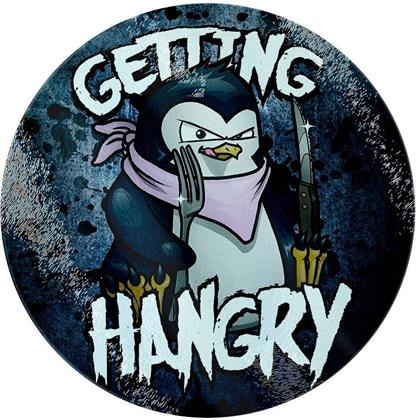 Psycho Penguin - Getting Hangry - Glass Chopping Board