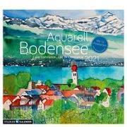 Bodensee Aquarell 2021. Postkarten-Tischkalender