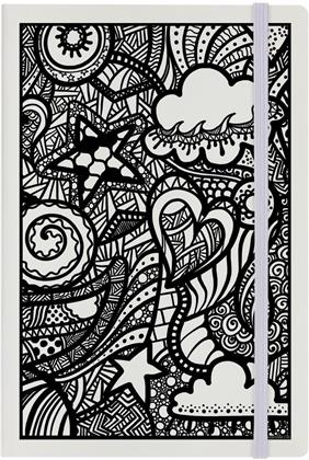 Monochrome Elements - Cream A5 Hard Cover Notebook