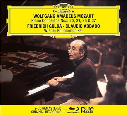 Claudio Abbado, Friedrich Gulda (1930-2000) & Wiener Philharmoniker - Klavierkonzerte 20, 21, 25, 27 (+ Bluray Audio Only, Remastered, 2 CDs + Blu-ray)