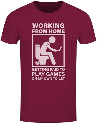 Working From Home - Getting Paid To Play Games On My Own Toilet - Men's Burgundy T-Shirt