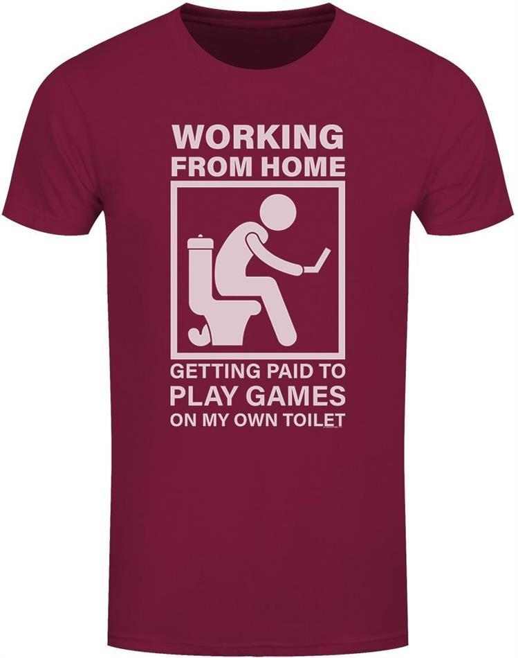 Working From Home - Getting Paid To Play Games On My Own Toilet - Men's Burgundy T-Shirt - Grösse M
