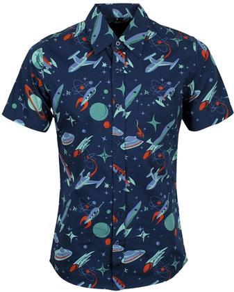 Run & Fly - Retro Outer Space - Short Sleeve Shirt