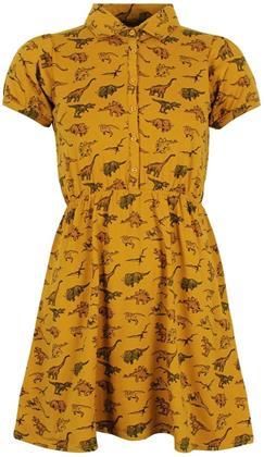 Run & Fly - Gold Dinosaur - T-Shirt Skater Dress (Ladies UK Size 8)